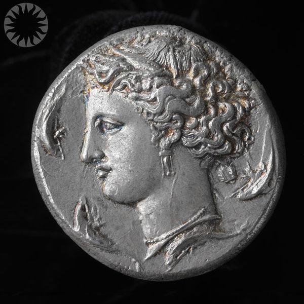 Ancient Greek Silver Coin (Dekadrachm), about 400 B.C.E.