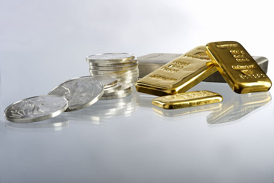 gold silver bars coins